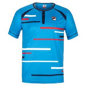 Men`s PLR Tennis Henley Brilliant Blue and Peacoat