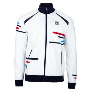 Men`s PLR Tennis Jacket White and Peacoat