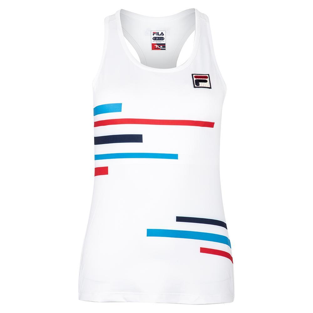 Women's Plr Racerback Tennis Tank White And Brilliant Blue
