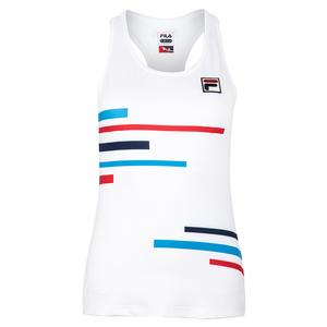 Women`s PLR Racerback Tennis Tank White and Brilliant Blue