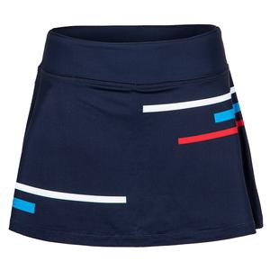 Women`s PLR 13.5 Inch Tennis Skort Peacoat and Brilliant Blue