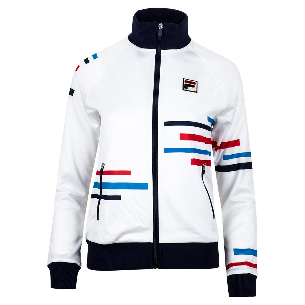 excellent quality best website choose clearance Fila Women's PL Rolando Tennis Jacket in White and Peacoat