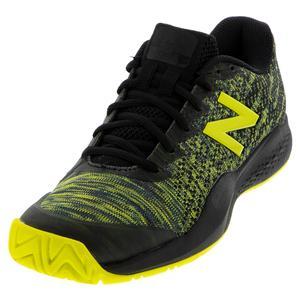 Men`s 996v3 D Width Tennis Shoes Black and Sulphur Yellow