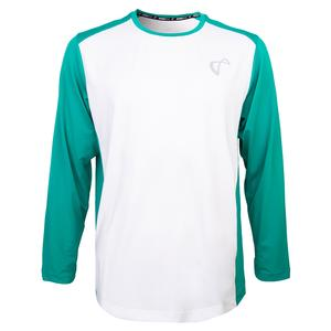 Men`s Ventilator Tennis Long Sleeve White and Match Green