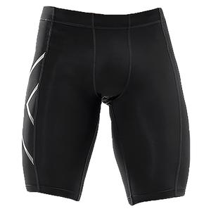 Men`s Compression Shorts Black and Silver