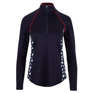 Women`s Piped Long Sleeve Mock Tennis Pullover Midnight and Star Print