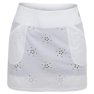 Women`s Laser Cut Woven Mina Tennis Skort White