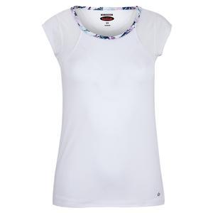 Women`s English Garden Cap Sleeve Tennis Top White
