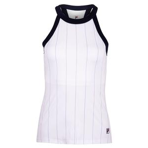 Women`s Heritage Halter Tennis Tank White and Pastel Lilac