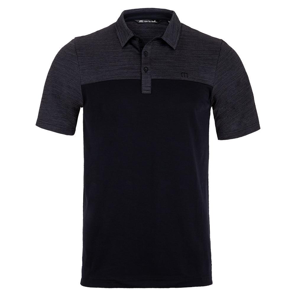 Men's Zip It Tennis Polo Grey Pinstripe And Black