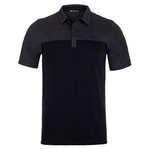 Men`s Zip It Tennis Polo Grey Pinstripe and Black