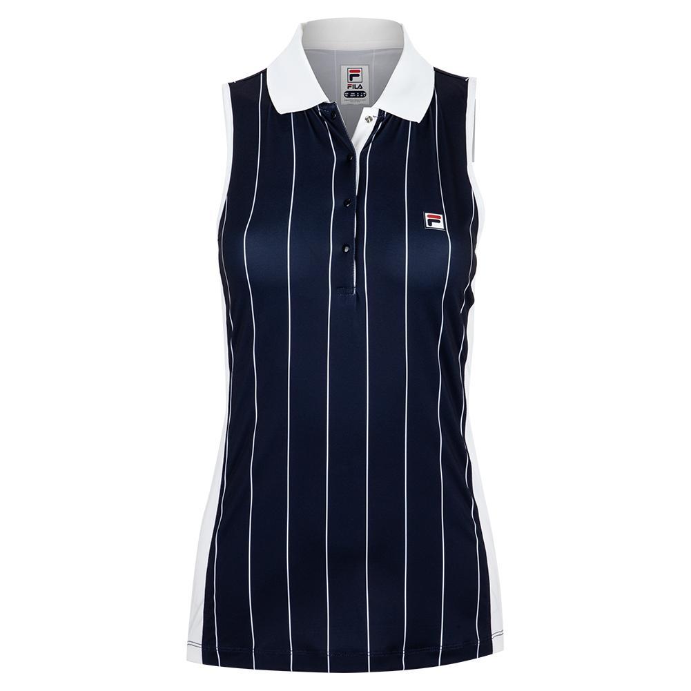 Women's Heritage Sleeveless Tennis Polo Navy And White