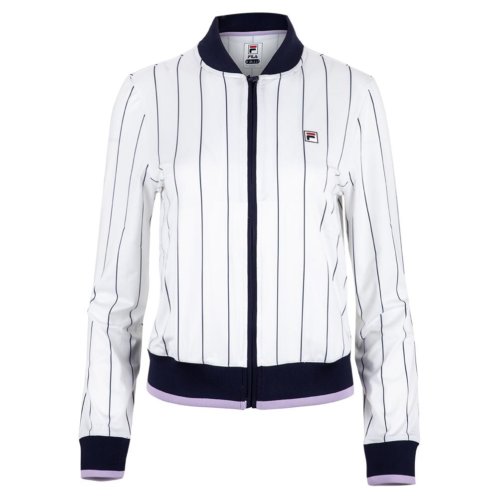 Fila Women's Heritage Tennis Jacket in White and Navy