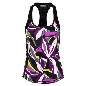 Women`s Popflower Print Tennis Tank All Black