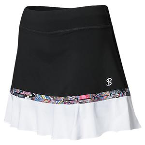 Women`s 14 Inch Tennis Skort Black and White