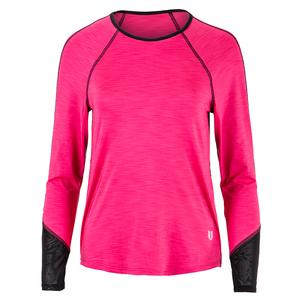 Women`s Sunny Back Long Sleeve Tennis Top Raspberry