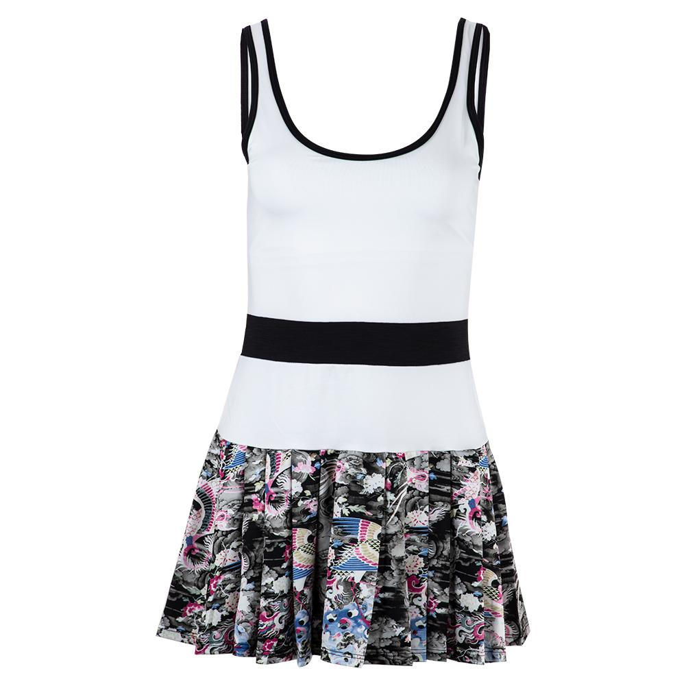 Women's Volley Tennis Dress White And Phoenix Print