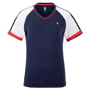 Women`s Heritage Sport Tennis Top Navy and White