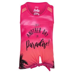 Girls` Tahiti Tie Knot Tennis Tank Shocking Pink