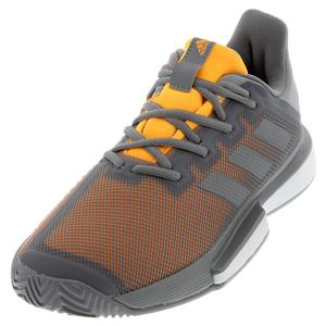 Men`s SoleMatch Bounce Tennis Shoes Gray Three and Solar Orange