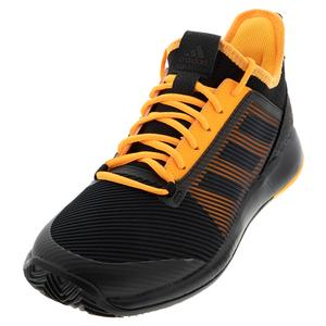 Men`s Adizero Defiant Bounce 2 Tennis Shoes Core Black and Flash Orange