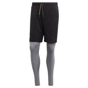 Men`s 2in1 Tennis Short Black and Grey Three