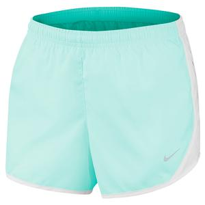 Girls` Dry Tempo Running Short Teal Tint and White
