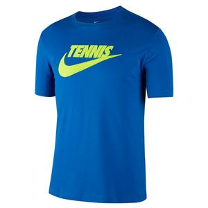 Men`s Court Dri-FIT Graphic Tennis Tee Game Royal and Volt