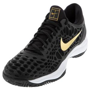 Men`s Zoom Cage 3 Tennis Shoes Black and Metallic Gold