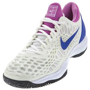Men`s Zoom Cage 3 Tennis Shoes White and Game Royal