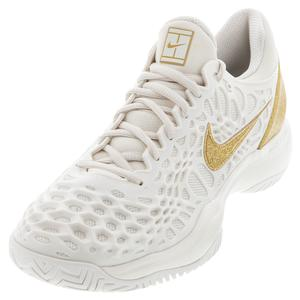 Women`s Zoom Cage 3 Tennis Shoes Phantom and Metallic Gold