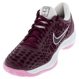 Women`s Zoom Cage 3 Tennis Shoes Bordeaux and White