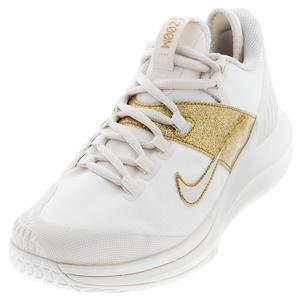 Women`s Court Air Zoom Zero Tennis Shoes Phantom and Metallic Gold