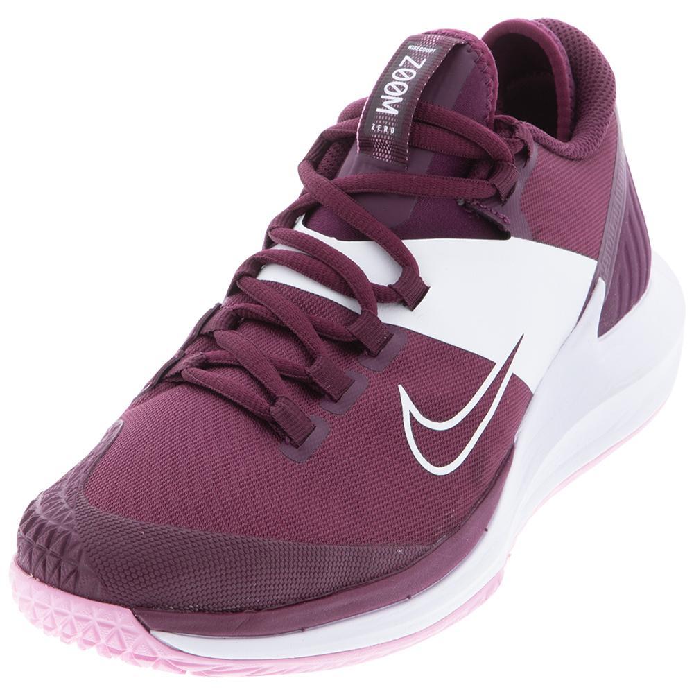 Women's Court Air Zoom Zero Tennis Shoes Bordeaux And Pink Rise