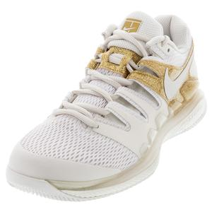 Women`s Air Zoom Vapor X Tennis Shoes Phantom and Metallic Gold
