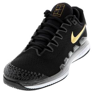Men`s Air Zoom Vapor X Knit Tennis Shoes Black and Metallic Gold
