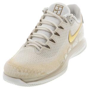 Women`s Air Zoom Vapor X Knit Tennis Shoes Phantom and Metallic Gold