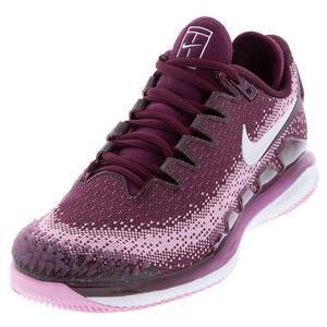 Women`s Air Zoom Vapor X Knit Tennis Shoes Bordeaux and White