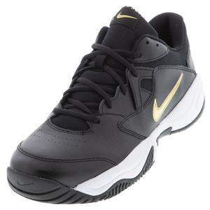 Men`s Court Lite 2 Tennis Shoes Black and Metallic Gold
