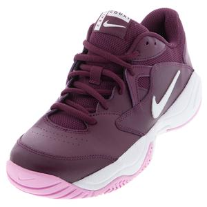 Women`s Court Lite 2 Tennis Shoes Bordeaux and White