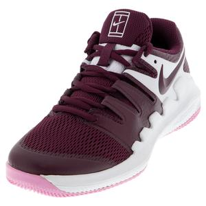 Juniors` Vapor X Tennis Shoes White and Bordeaux