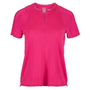 Women`s Viper Tie Back Short Sleeve Tennis Top Shocking Pink