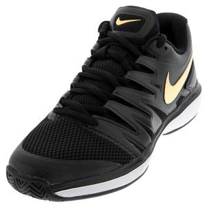 Men`s Air Zoom Prestige Tennis Shoes Black and Metallic Gold