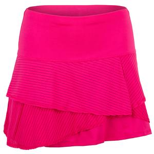 Women`s Long Shadow Stripe Origami Tennis Skort Shocking Pink