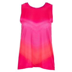 Women`s Horizon Ombre Tie Back Tennis Tank Shocking Pink