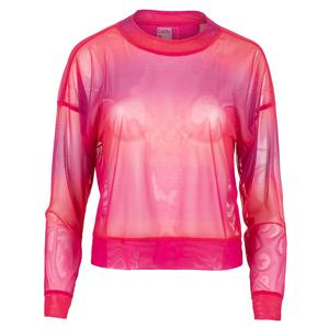 Women`s Horizon Ombre Mesh Long Sleeve Tennis Top Shocking Pink