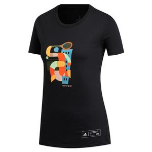 Women`s NYC Volley Tennis Tee Black