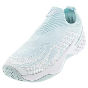 Women`s Aero Knit Tennis Shoes Pastel Blue and White