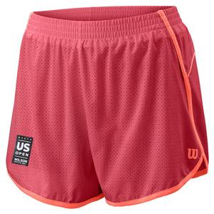 Women`s 2019 US Open Woven 3.5 Inch Tennis Short Holly Berry and Peach Echo