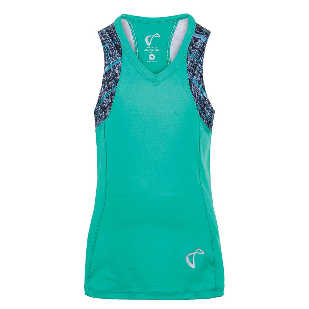 Girls ` Baseline V- Neck Tennis Tank Spearmint And Hatch